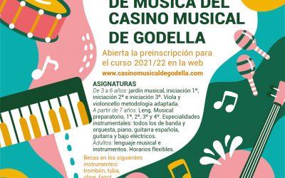 L'Escola de Música del Casino Musical de Godella obri les preinscripcions per al curs 2021/22